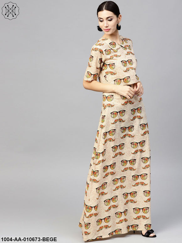 Beige Printed Peter Pan Collar Blouse With Floor Length Flared Ion Skirt
