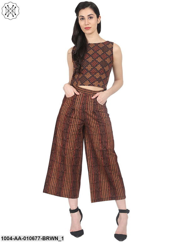 Brown Check Sleeveless Crop Top With Striped Calf Length Flared Palazzo