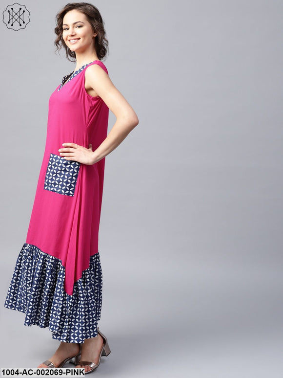 Pink Manipuri Printed Sleeveless Cotton Dress