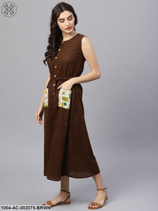 Round Neck Brown Maxi Dress With Front Placket And Belt