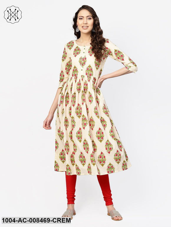 Cream Multi Colored Printed Dress With Round Neck & 3/4 Sleeves