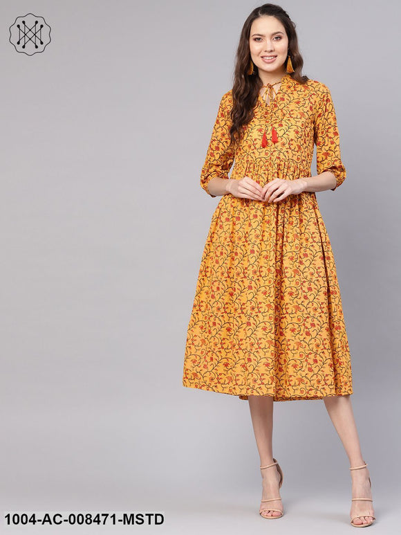 Mustard Flower Printed 3/4Th Sleeve Cotton Dress With Dori Work At Yoke