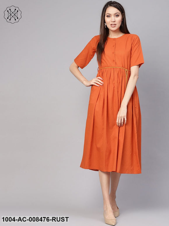 Rust Half Sleeves Gathered Midi Dress With Hangings Detailing