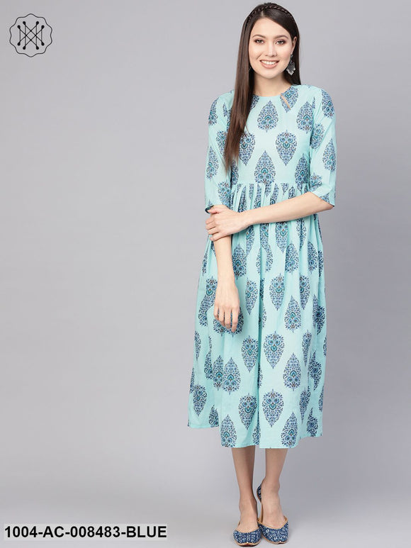 Pastel Blue Floral Motifs Printed 3/4Th Sleeve Cotton Maxi Dress
