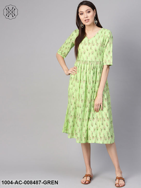 Green Floral Printed V-Neck 3/4Th Sleeves Midi Gathered Dress