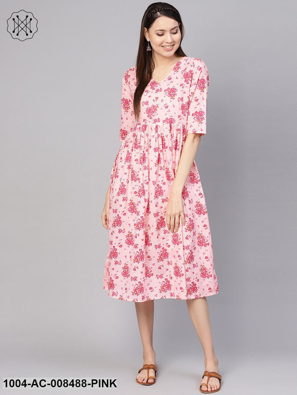 Pink Floral Printed V-Neck 3/4Th Sleeves Midi Gathered Dress