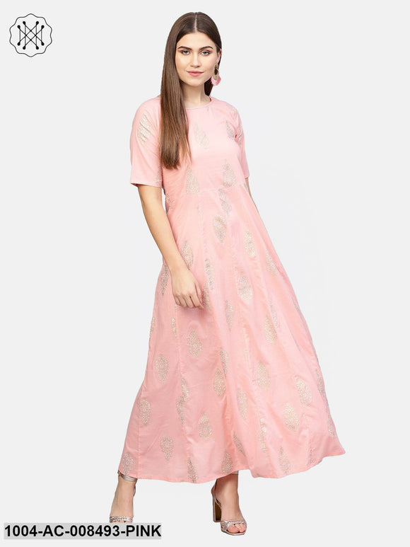 Light Pink With Gold Printed Half Sleeve Cotton Maxi Dress