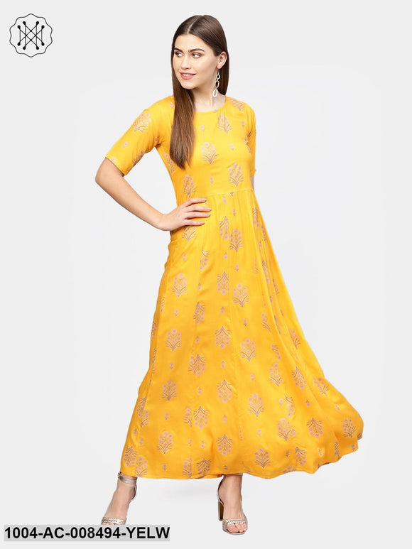 Yellow With Gold Printed Half Sleeve Cotton Maxi Dress