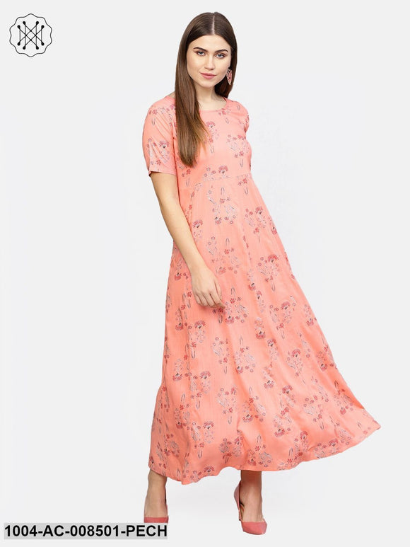Peach Printed Half Sleeve Cotton Maxi Dress