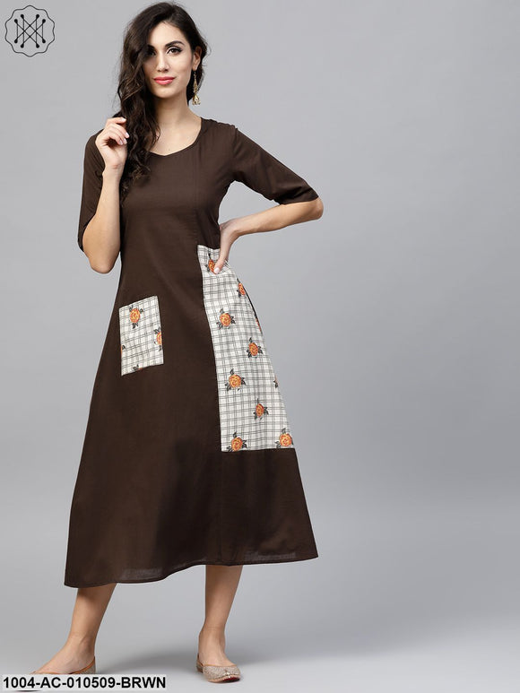 Dark Brown A-Line Dress With Front Patch Pockets And Half Sleeves