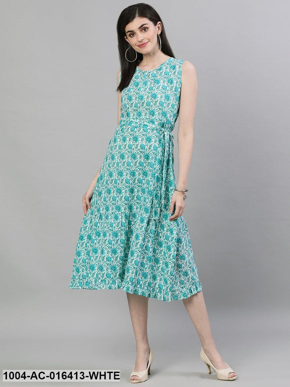 White Floral Printed Round Neck Cotton A-Line Dress