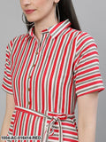 Red Striped Striped Shirt Collar Cotton A-Line Dress