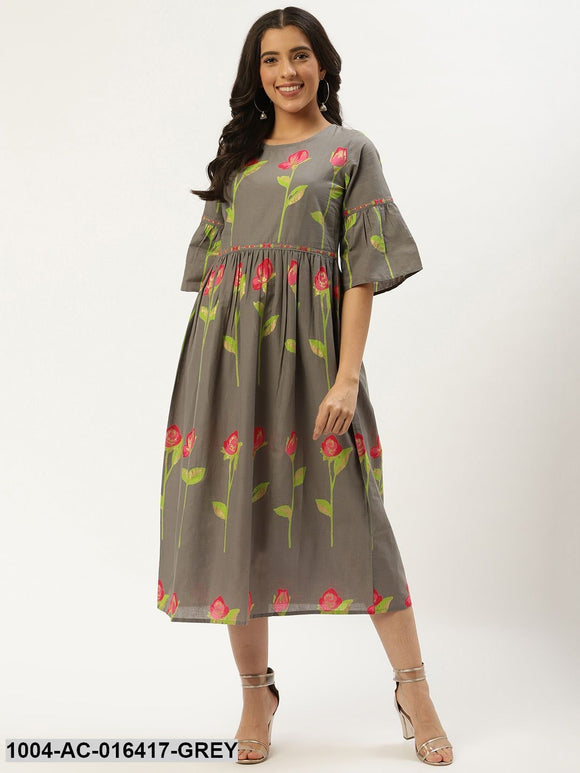 Grey Floral Printed Round Neck Cotton A-Line Dress