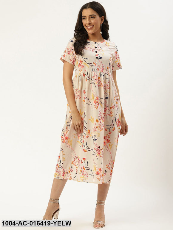 Yellow Floral Printed Round Neck Cotton A-Line Dress