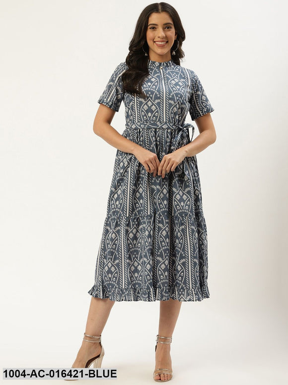 Blue Ethnic Motifs Printed High-neck Cotton A-Line Dress