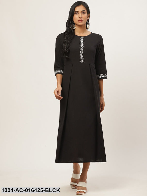 Black Solid Solid Round Neck Cotton Fit and Flare Dress