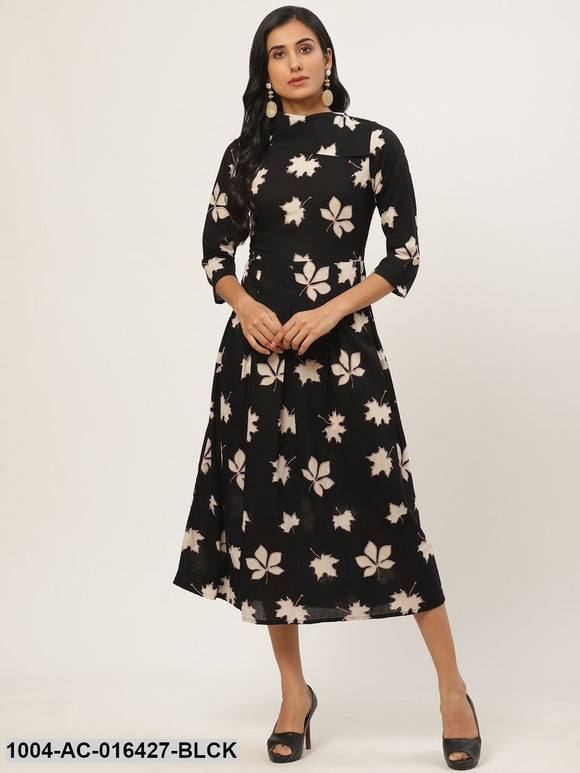 Black Floral Printed Shirt Collar Cotton Fit and Flare Dress