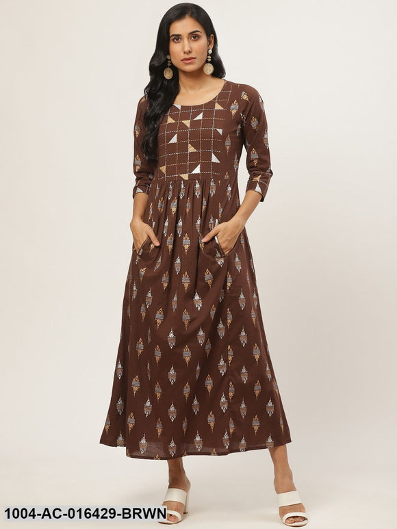 Brown Ethnic Motifs Printed Round Neck Cotton Fit and Flare Dress
