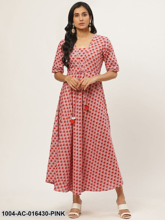 Pink Floral Printed Square Neck Cotton Fit and Flare Dress