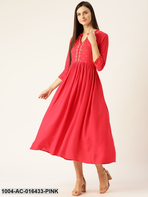 Pink Self Design Solid Mandarin Collar Viscose Rayon Fit and Flare Dress