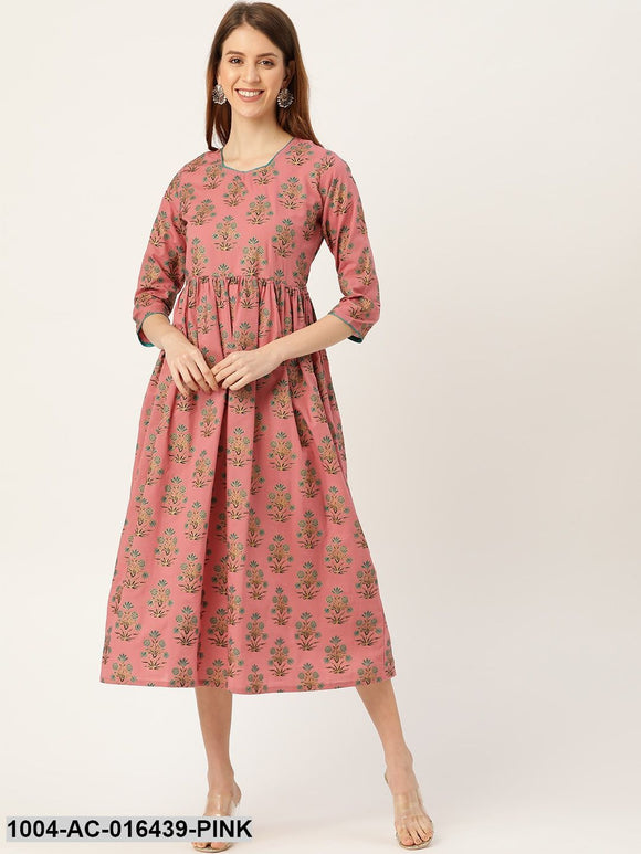 Pink Ethnic Motifs Printed Square Neck Cotton Maxi Dress