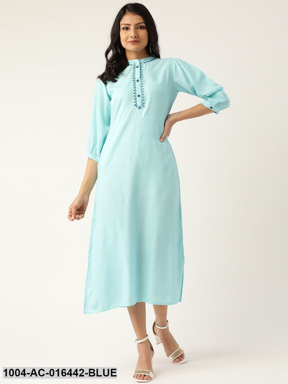 Blue Solid Solid Mandarin Collar Viscose Rayon A-Line Dress