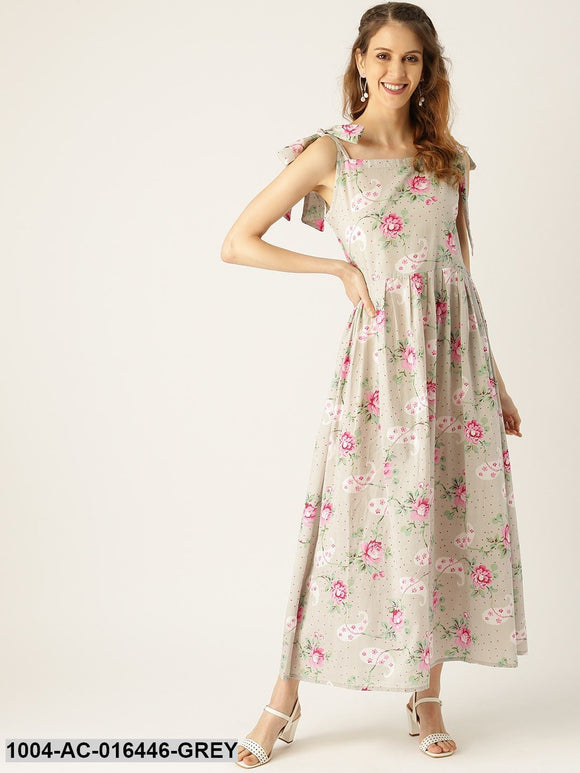 Grey Floral Printed Halter Neck Cotton Fit and Flare Dress