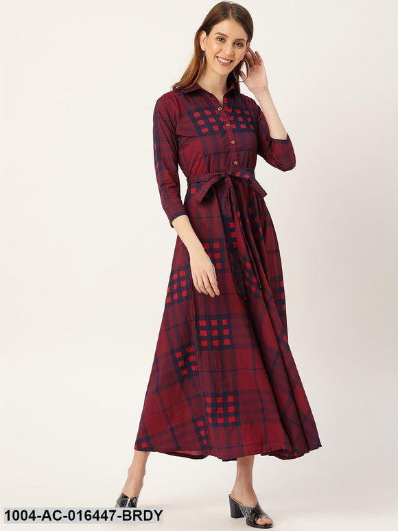 Burgundy Checked Printed Shirt Collar Cotton Fit and Flare Dress