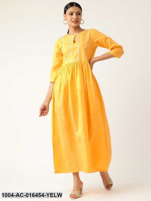 Yellow Solid Solid Keyhole Neck Cotton Fit and Flare Dress