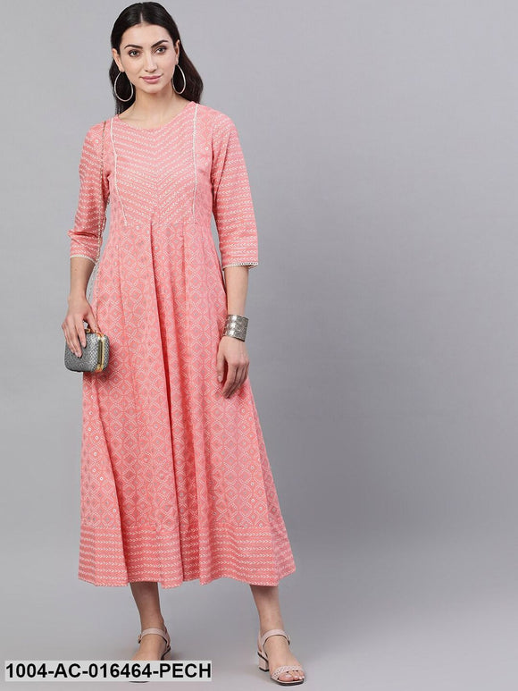 Pink Ethnic Motifs Checked Round Neck Cotton Maxi Dress