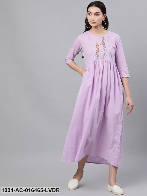 Lavender Solid Solid Round Neck Cotton Maxi Dress