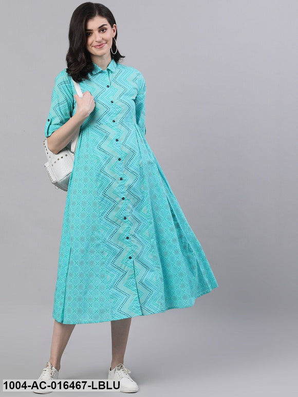 Blue Chevron Printed Shirt Collar Cotton Maxi Dress