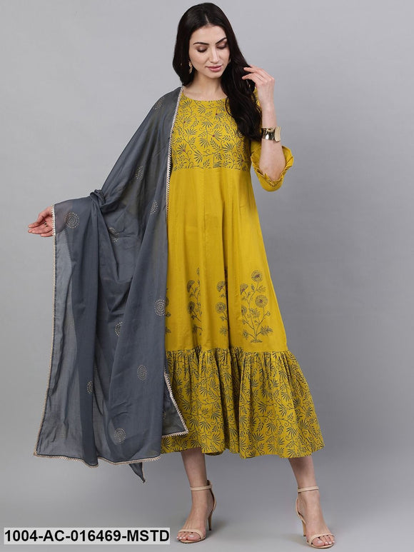 Yellow Floral Printed Round Neck Cotton Maxi Dress With Dupatta