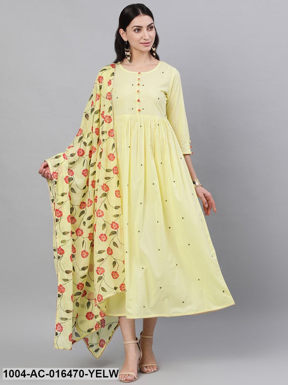 Yellow Solid Solid Round Neck Cotton Maxi Dress With Dupatta