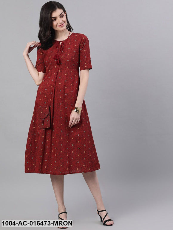Maroon Polka Dots Printed Tie-Up Neck Polyester A-Line Dress