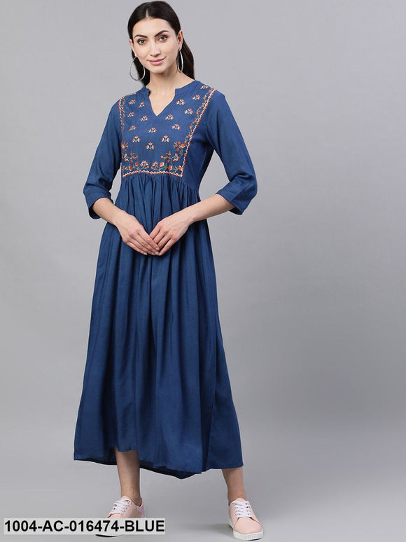 Blue Solid Embroidered Mandarin Collar Viscose Rayon Fit and Flare Dress