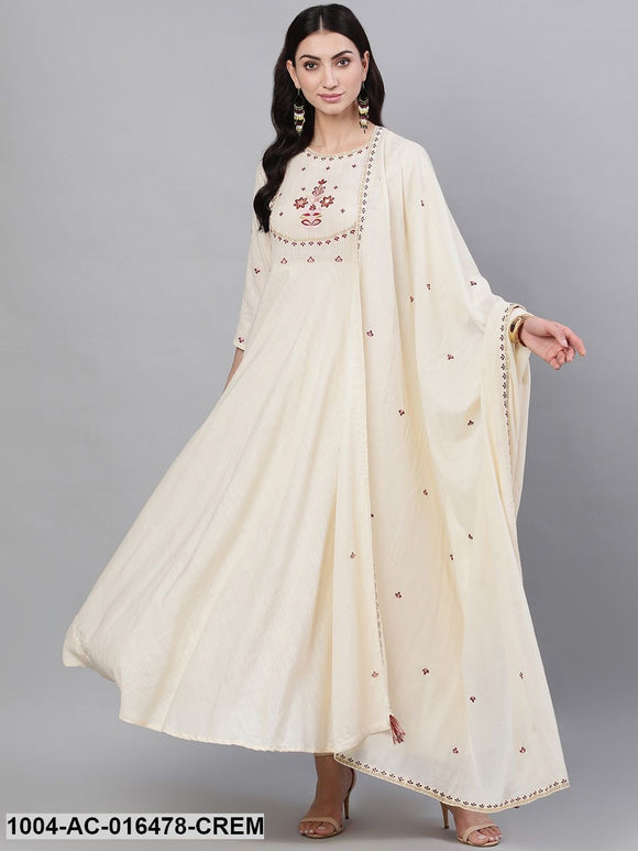 Off White Solid Solid Round Neck Viscose Rayon Maxi Dress With Dupatta