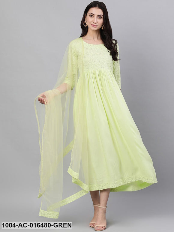 Light neon green Solid Embroidered Round Neck Viscose Rayon Maxi Dress With Dupatta