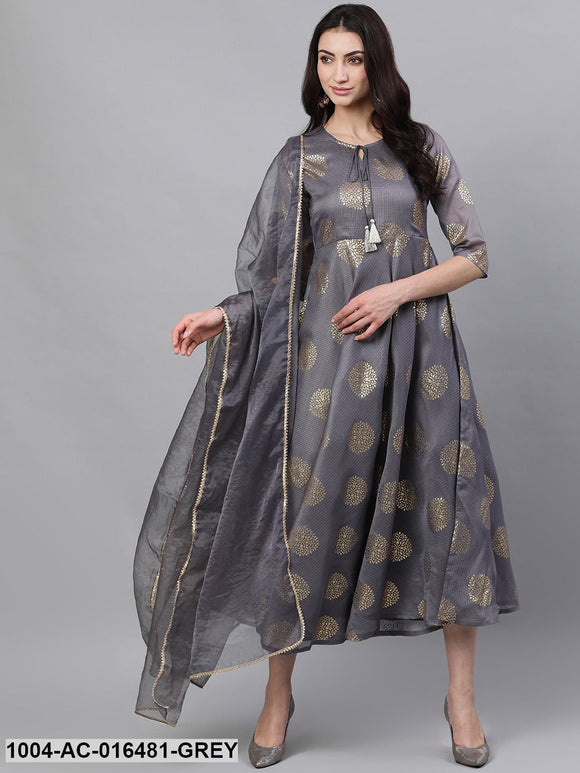 Grey Ethnic Motifs Printed Tie-Up Neck Cotton Maxi Dress With Dupatta
