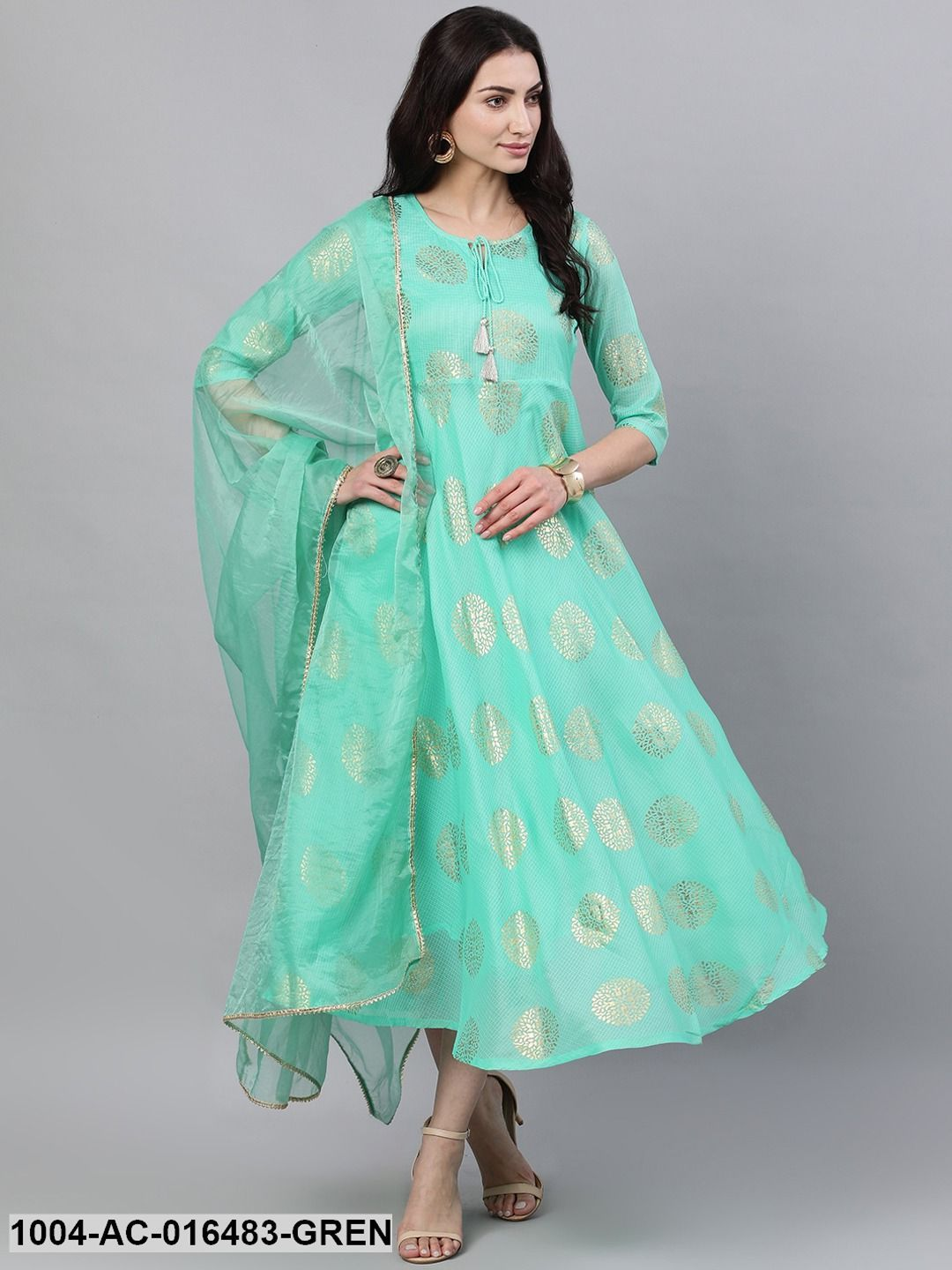 Green Ethnic Motifs Printed Tie-Up Neck Cotton Maxi Dress With Dupatta