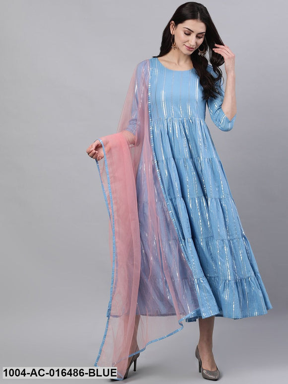 Blue Solid Solid Round Neck Cotton Maxi Dress