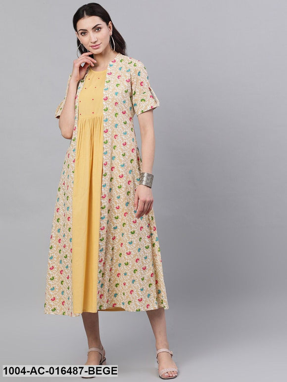 Beige Ethnic Motifs Printed Round Neck Cotton A-Line Dress with Shrug