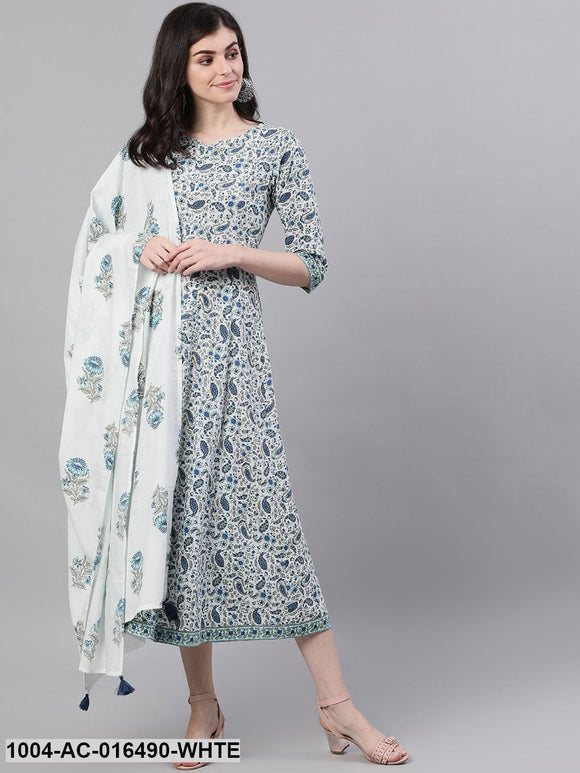 White Ethnic Motifs Printed V-Neck Cotton Maxi Dress With Dupatta