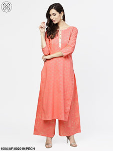 Peach Printed 3/4Th Sleeve Cotton Kurta With Flared Ankle Length Palazzo