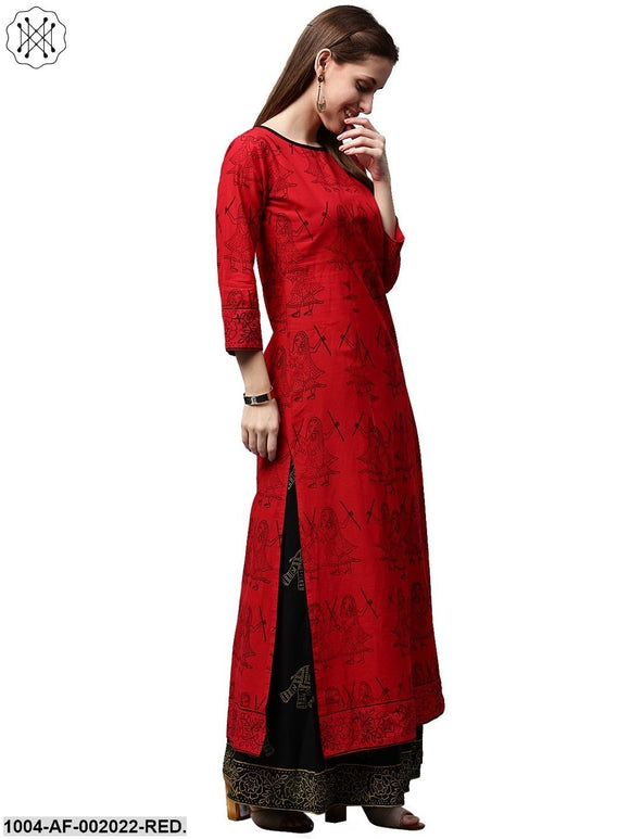 Red Printed 3/4Th Sleeve Cotton Kurta With Green Printed Palazzos