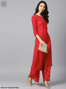 Red Yoke Printed 3/4Th Sleeve Cotton Kurta With Printed Ankle Length Palazzo