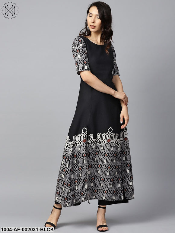 Black Printed Half Sleeve Cotton A-Line Kurta With White Printed Palazzos
