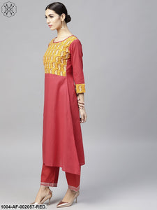Round Neck Red Printed 3/4Th Sleeve Cotton Kurta Set With Printed Mustard Palazzo