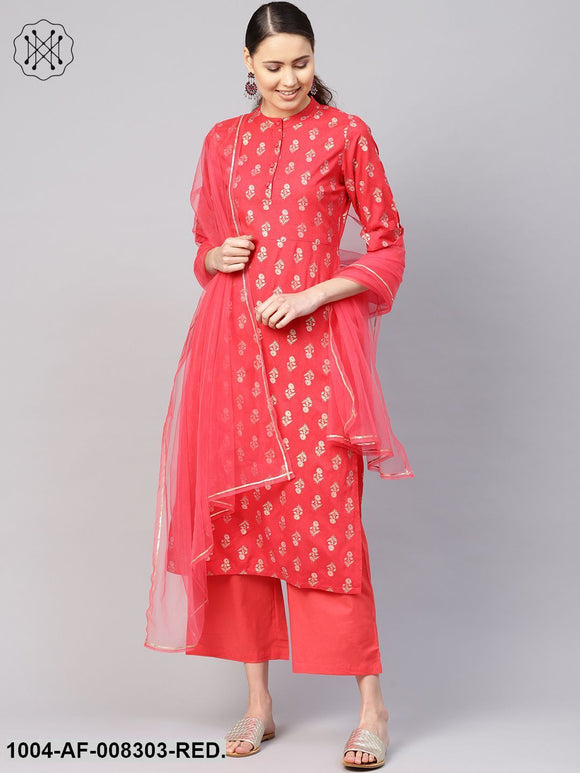 Coral Gold Printed Collared Elbow Sleeve Straight Kurta With Palazzo And Dupatta.