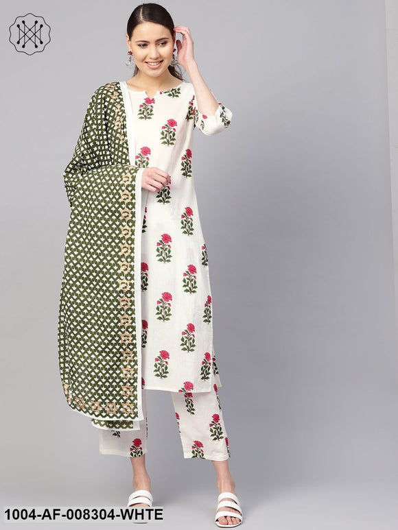 White Floral Printed Round Neck Straight Kurta With Pants And Green Gold Printed Dupatta.